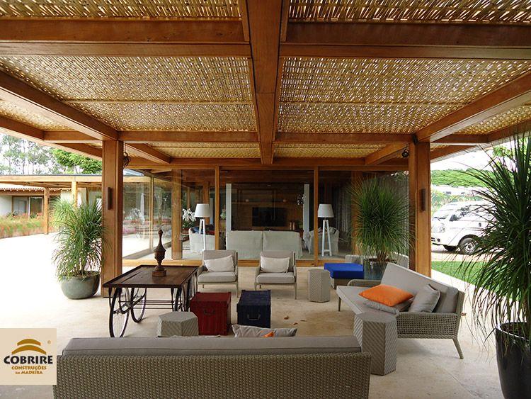 cantinho zen pergolado cobertura de bambu
