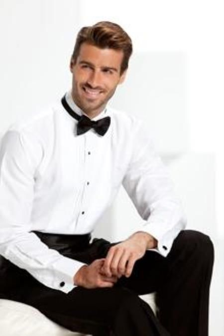 Sku Qy26l Mens White Tuxedo Shirt With Bow Tie Black