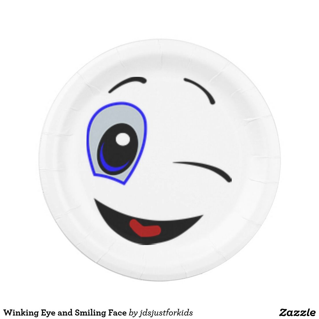 Face Plates  sc 1 st  Pinterest & Winking Eye and Smiling Face Paper Plate | zazzle gifts | Pinterest ...