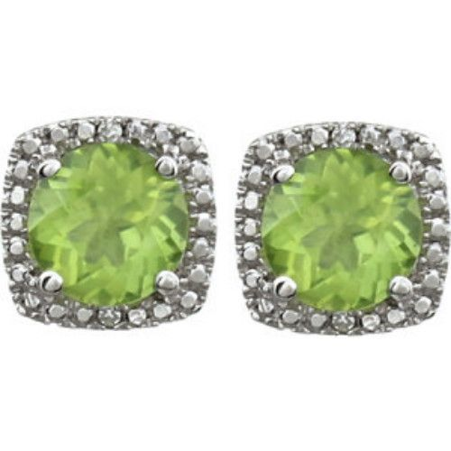 STERLING SILVER Earrings are stud style for pierced ears. Each earring features a GENUINE PERIDOT = 3/4 CARAT with DIAMOND accents. The PERIDOT Total Weight = 1.50 CARATS!