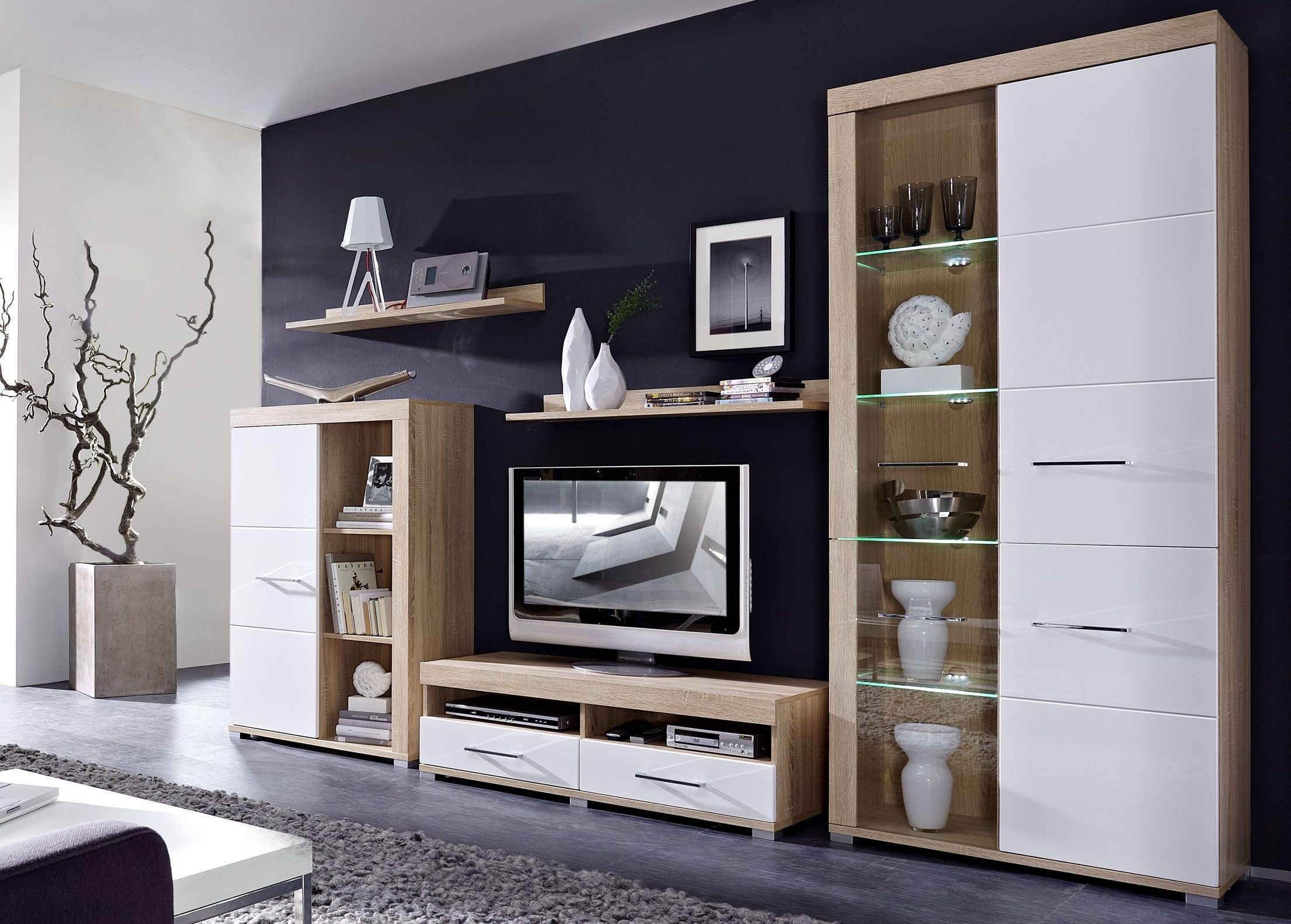 Genial Wohnwand Weiß Holz