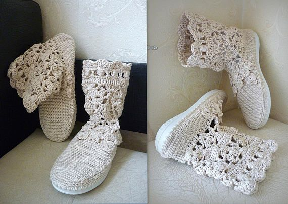 Crochet Boots Linen shoes rubber soles Slouch lace Boots Summer ...