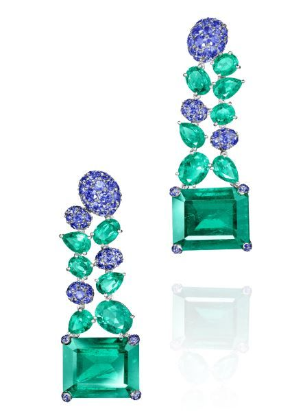 "de Grisogono Sapphire and Emerald Earrings from the ""Folies"" collection"