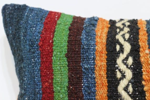 12x20 Turkish Embroidery Pillow Multicolour Kilim Pillow boho pillow Ethnic pillow Lumbar Kilim Pill