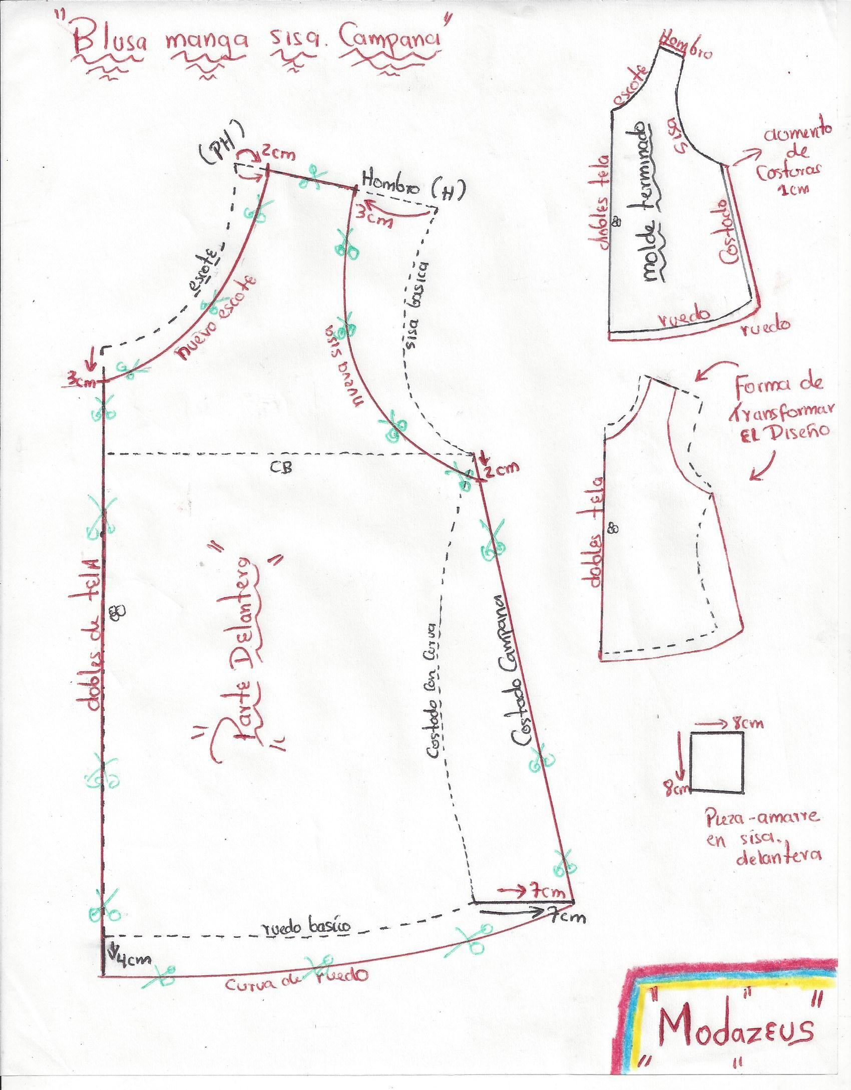 moldes de blusa para niñas, diseño amplio-campana manga sisa ...