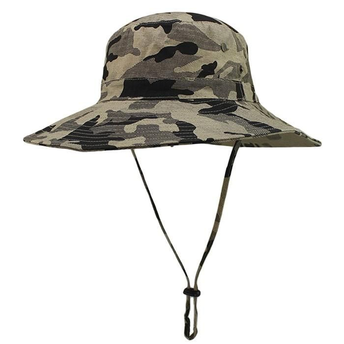 2a00b996682de Woodland Camouflage High quality Summer Fishing Outdoor Large Brimmed  Canvas Hat