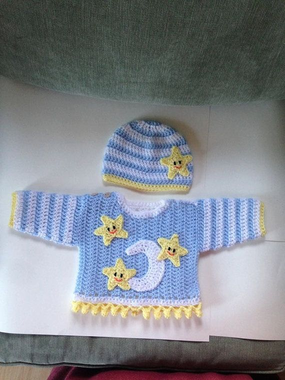 00f642be0 Crochet baby sweater and hat set. Moon and stars by BabyBunnies4 ...