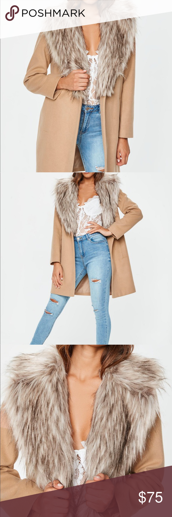 724f3dfd6284 NWT Missguided Camel Faux Fur Collar Coat sz 2 Brand new with tags and  original packaging
