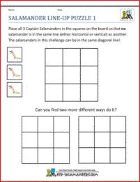 math puzzle worksheets salamander line up puzzle 1 | puzzles ...