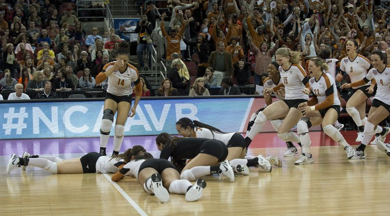 Texas Volleyball Celebrates Their National Championship Win Volleyball Women Volleyball National Champions