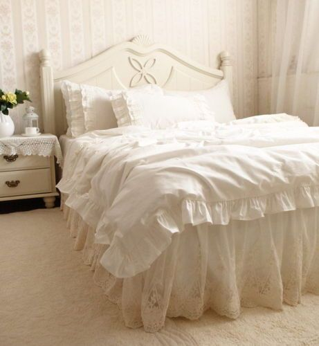 Details About Luxury Romantic Ivory Embroidery Lace Ruffle
