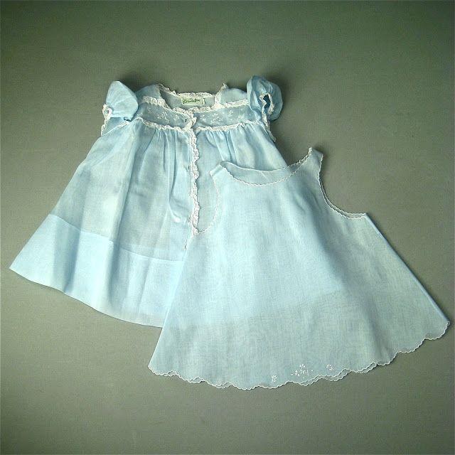 Details About Vintage Feltman Day Gown Slip Dress Blue