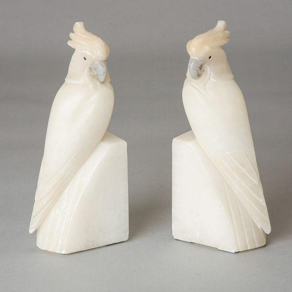 Pair Art Deco Italian Alabaster Cockatoo Bookends    Pair Circa 1940s  Italian Hand Carved Alabaster