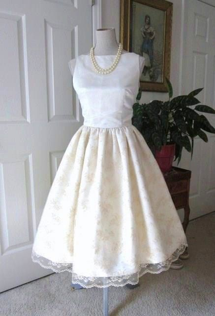 1960s Inspired WEDDING DRESS Satin Lace Classic by TenderLane ...