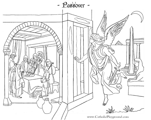 learn about old testament events with this free printable coloring page of the passover or browse more bible coloring pages here at the catholic playground