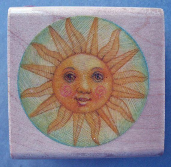 Sun and Moon Rubber Stamp Mounted Wood Block Art Stamp