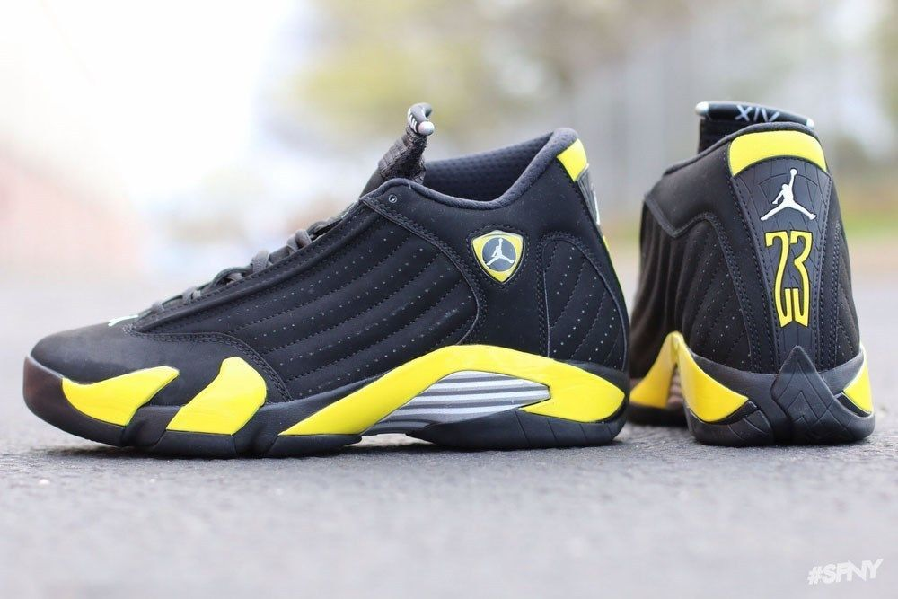 jordan retro 14 for men black and yellow