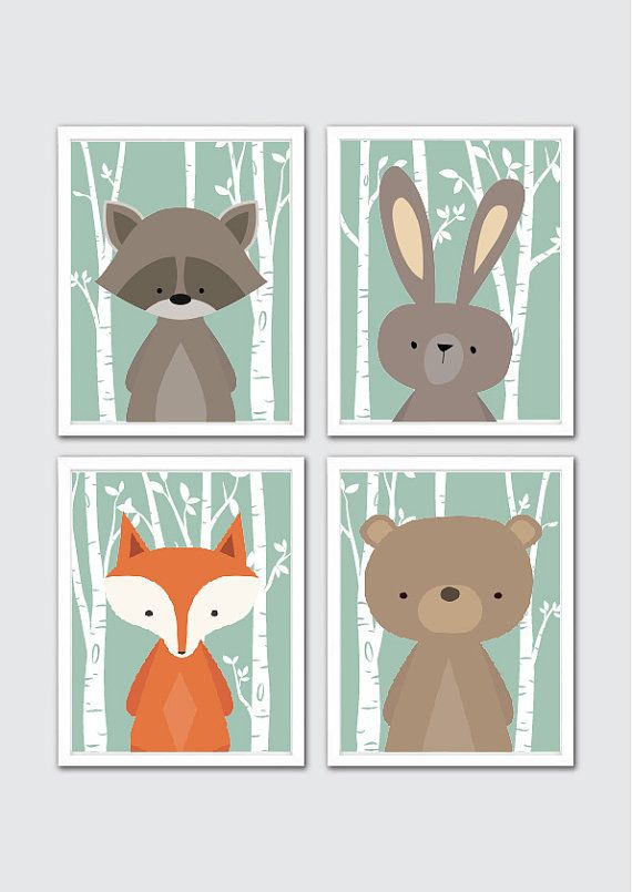 Woodland Animals Nursery Art Prints Ra Rabbit Fox Bear Wall Room Decor Bedding