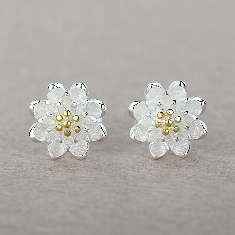 Boutique Lady Shining Flower 925 Sterling Silver Stud Earring Cartilage Piercing Earings Boho Jewelry Women Metal Color Gold