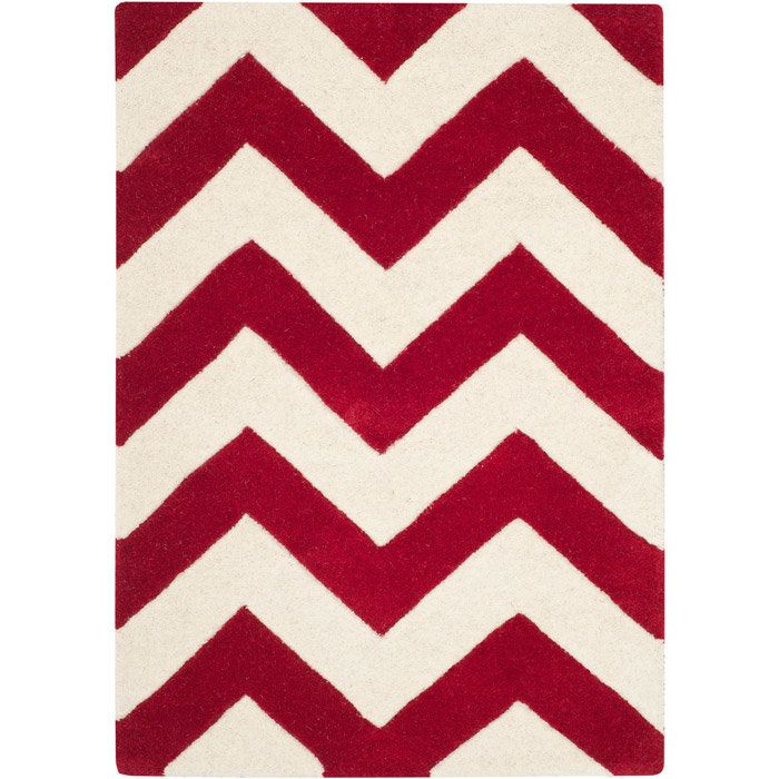 Chatham Red Chevron Wool Hand Tufted Area Rug