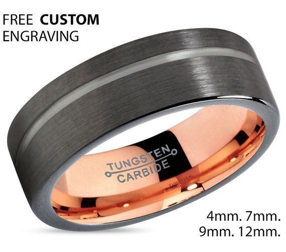 Gunmetal Black Tungsten Ring Rose Gold Wedding Band Ring Tungsten Carbide 4mm 6mm 8mm 10mm 12mm 18k Tungsten Man Wedding Band Male Women Mens Wedding Bands Tungsten Black Tungsten Rings Black