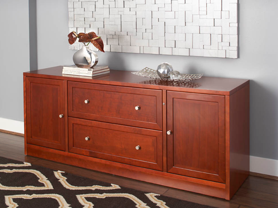 Lovely This Dark Wood Storage Credenza Is Available In A Cherry Or Espresso Finish  To Complement Your Home Or Office Décor. This Credenza Has Two Drawers And  Two ...
