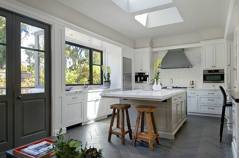 Zigzag Patterns In Kitchen Chevron And Herringbone Kitchen Flooring Modern Kitchen Design Kitchen Floor Tile Design