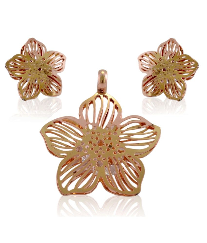 of discount on raindrops gold solitaire pendant set without