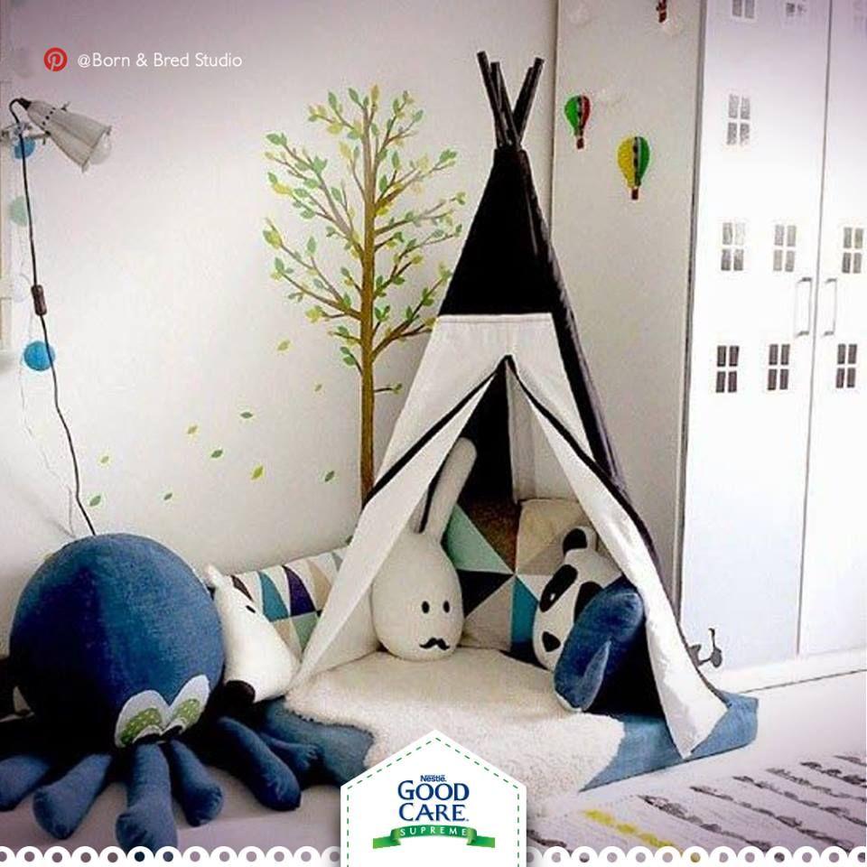 Tu pequeño también necesita un espacio para descansar y relajarse. ¿Qué te parece este lindo cuarto para él? No olvides los cojines, peluches y cobijas