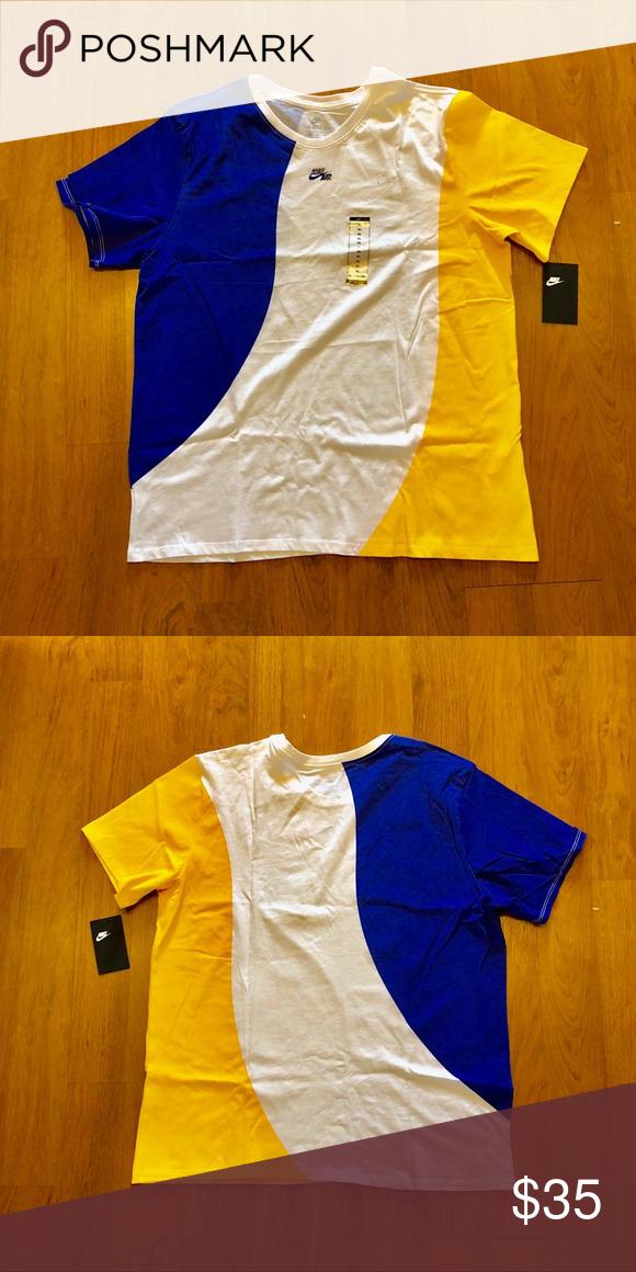 New Nike Blue/Yellow/White Short Sleeve