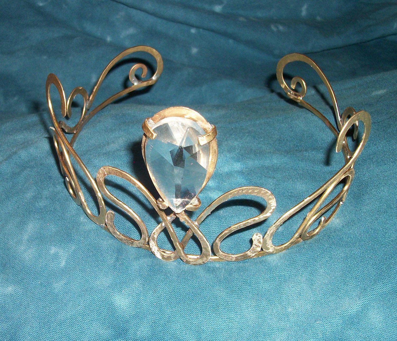Handmade Vintage Crystal Brass Crown Tiara | Vintage, Chandelier ...
