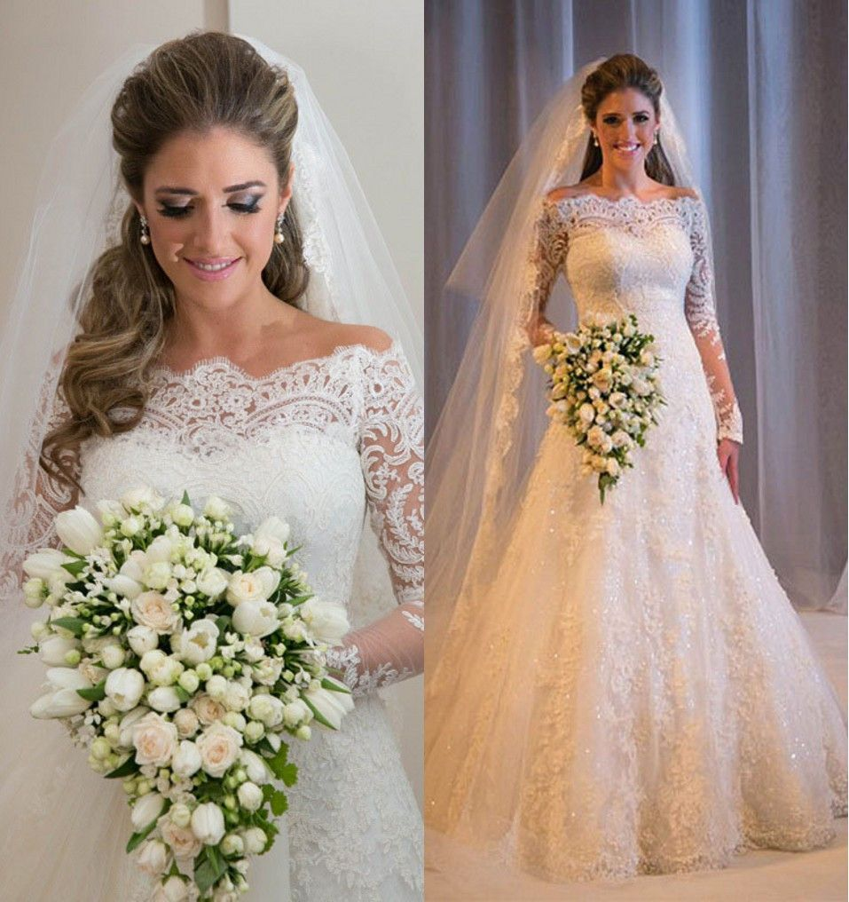 Tulle lace appliques boat neck long sleeves mermaid country wedding