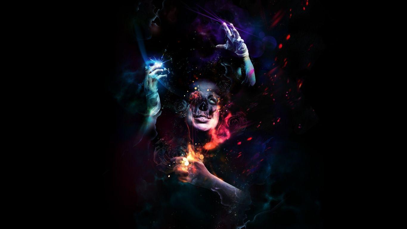 1366x768 Wallpaper Man Hands Horror Colorful Dark Skull Dressings