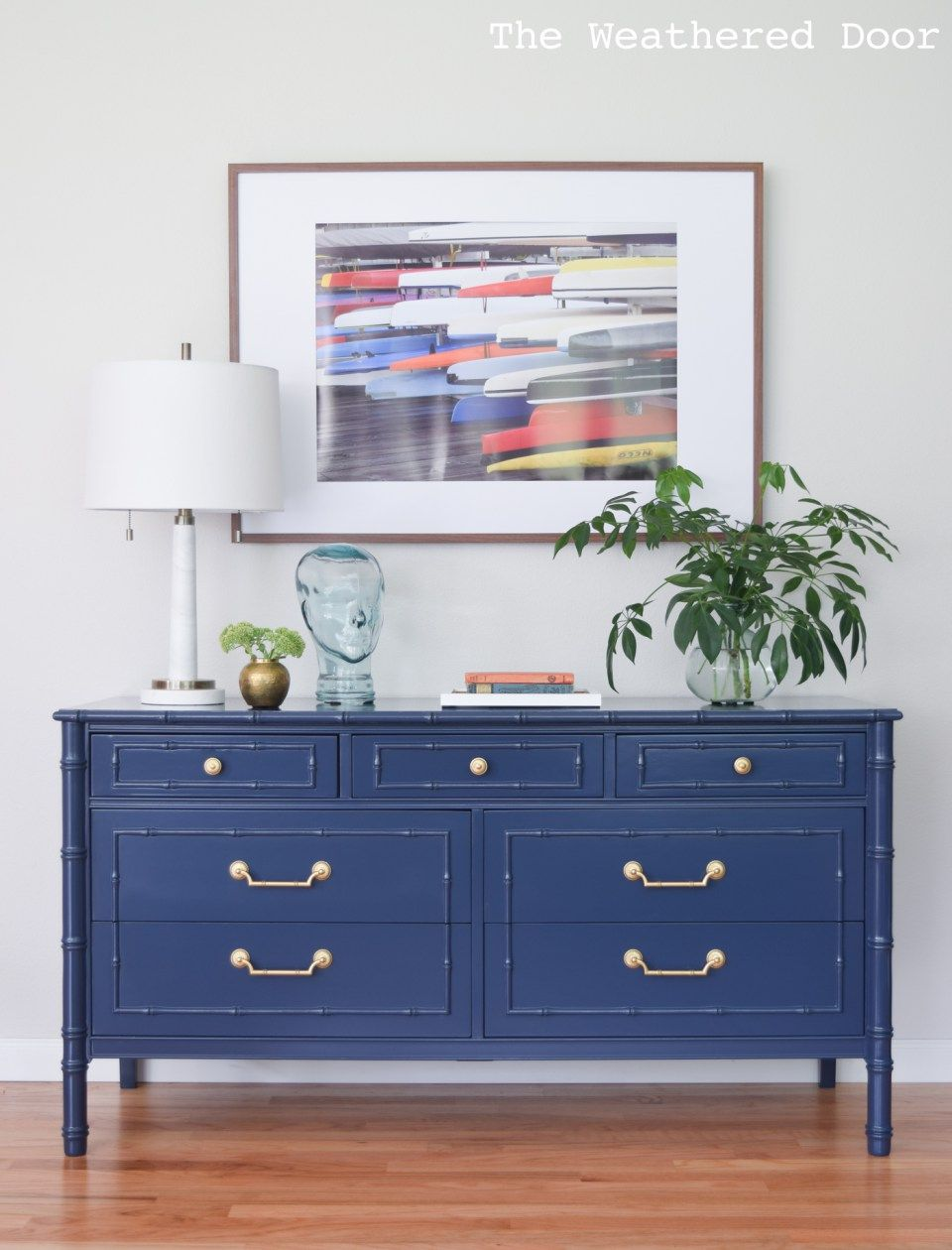 Before & After Navy Faux Bamboo Dresser Painted