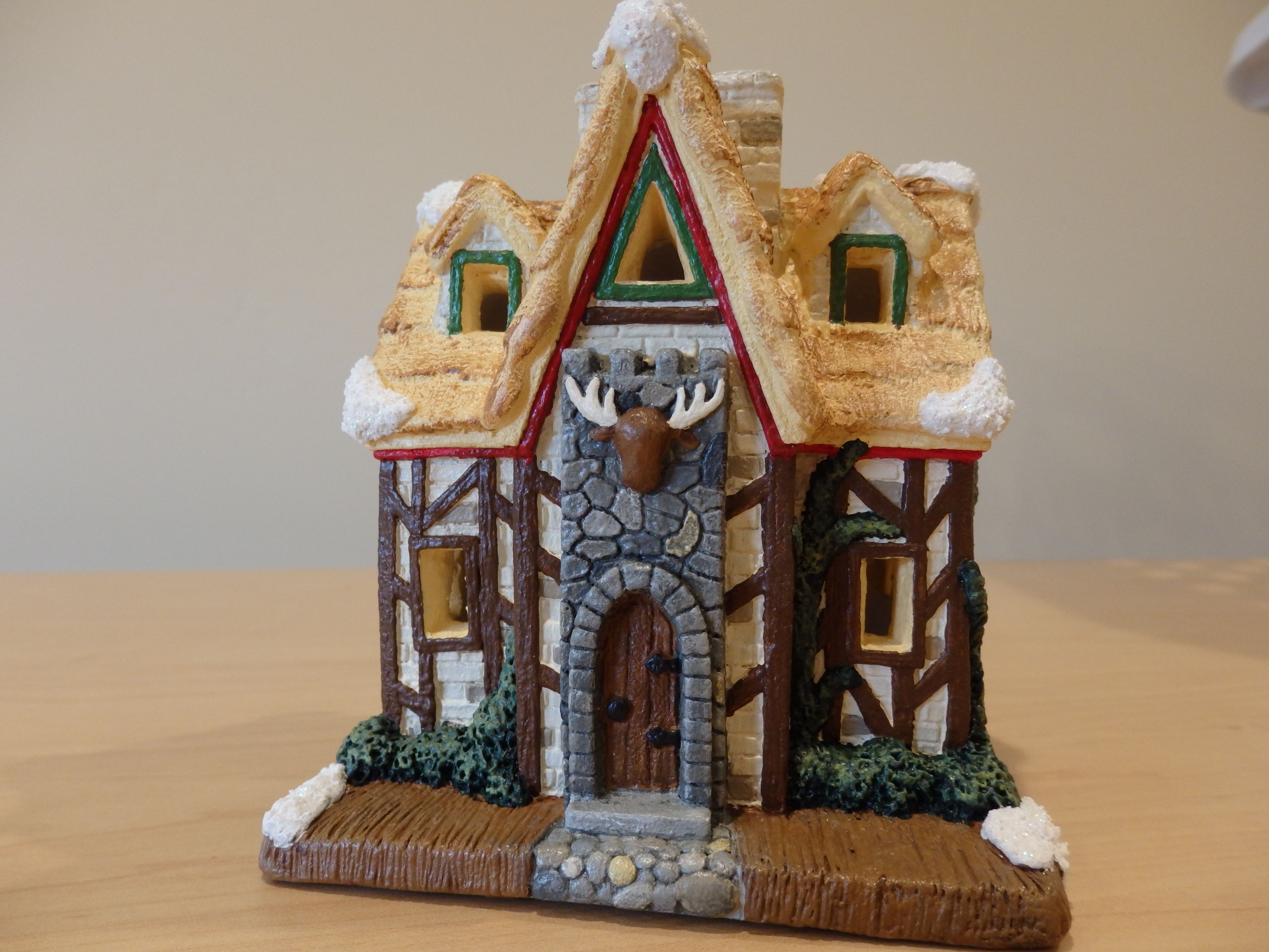 Ceramic christmas houses to paint - Hand Painted California Creations Plaster Christmas Lodge That I Painted For My Christmas Village