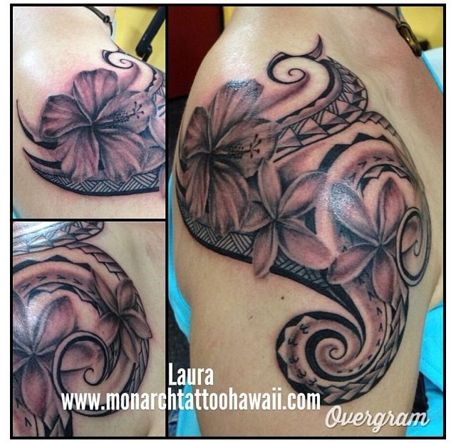 Polynesian Tribal With Hibiscus Plumeria Flowers Shoulder Piece