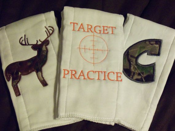 Personalized baby gift camo burp cloth for a small hunter target target practice for the littlest hunter by kandrscreations on etsy 1500 godson giftgodchildbaby negle Image collections