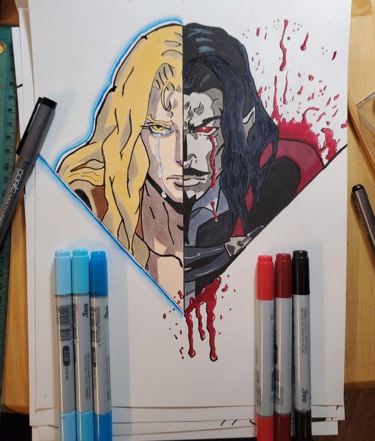 Dracula and alucard from netflix castlevania tattoo art