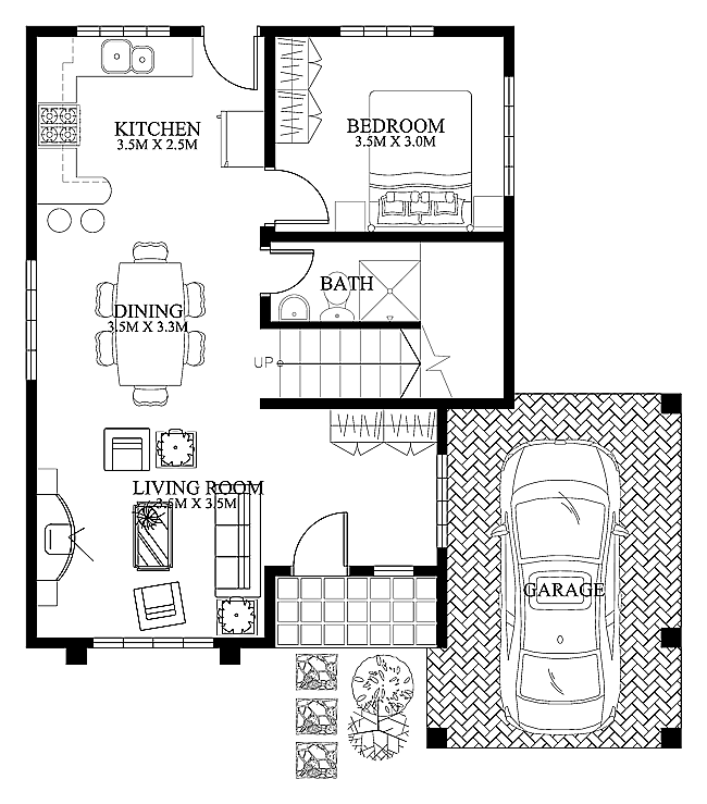 Modern house design 2012004 ground floor house plans for Small modern home plans