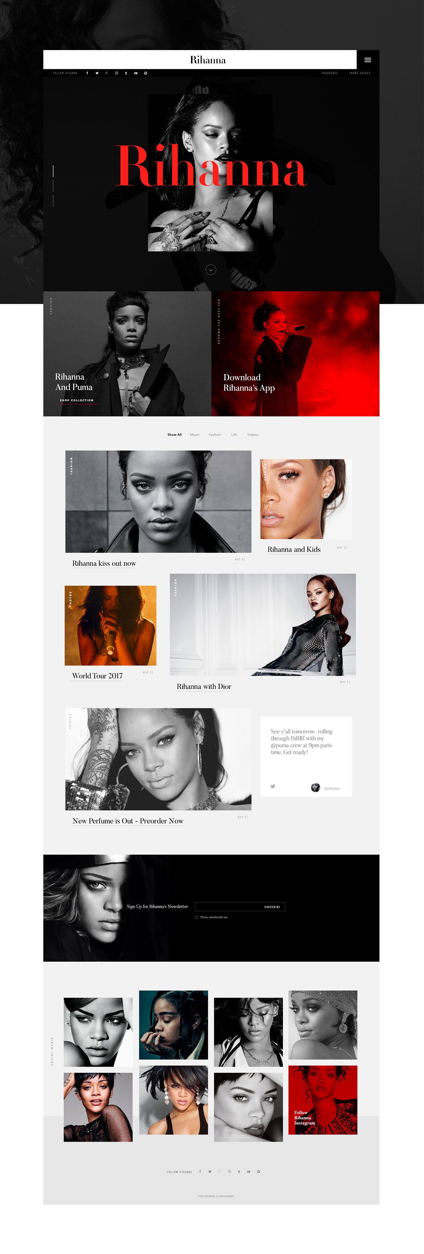 다음 @Behance 프로젝트 확인: \u201cRihanna - Official website\u201d https://www.behance.net/gallery/50910341/Rihanna-Official-website