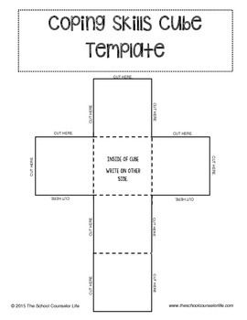 Coping Skills Cube Template  Coping Skills Cube And Template