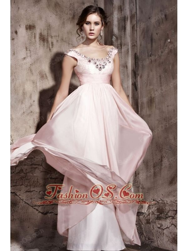 Light Pink Empire Scoop Floor-length Chiffon Beading Prom / Evening Dress- http://www.fashionos.com  http://www.facebook.com/fashionos.us  Soft dresses with lots of movement and a fluid design are perfect for beach events or other outdoor venues. This dress is a great example of this style. It features a pretty boat shaped neckline and cap sleeves that are encrysted with intricate beading accents. The floor-length skirt is light and flowy so that it moves beautifully when you do.