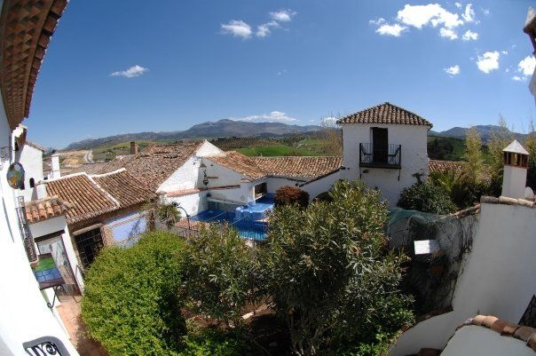 View of the hotel and the mountain ranges of Ronda