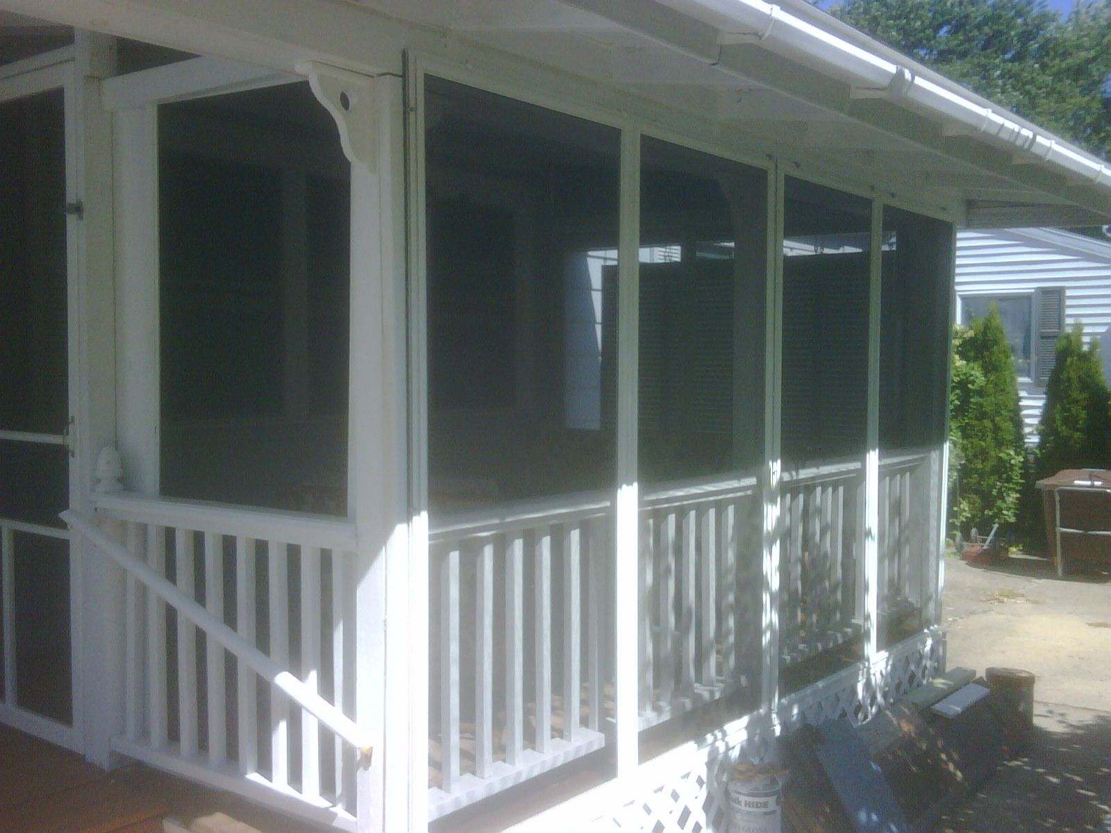 My Repurposed Screened Porch Made From Reused Sliding Door Panels