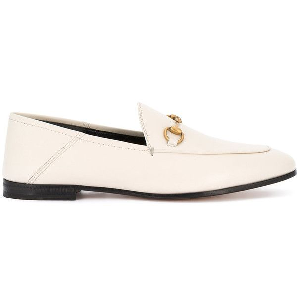 Gucci Brixton loafers (2.400 BRL) liked on Polyvore featuring shoes, loafers, white, shiny ...