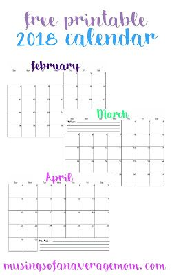 free printable 2018 monthly calendar