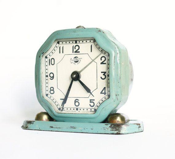 Vintage alarm clock Sevani from Armenia turquoise clock ...