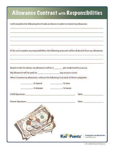 Allowance Contract with Responsibilities Kid Pointz - student contract templates