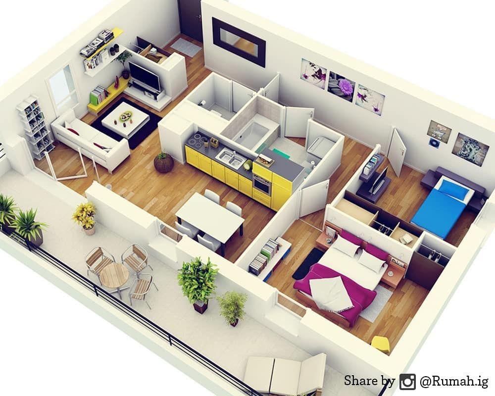 """Desain Rumah on Instagram """"Design rumah dengan 2 kamar"""