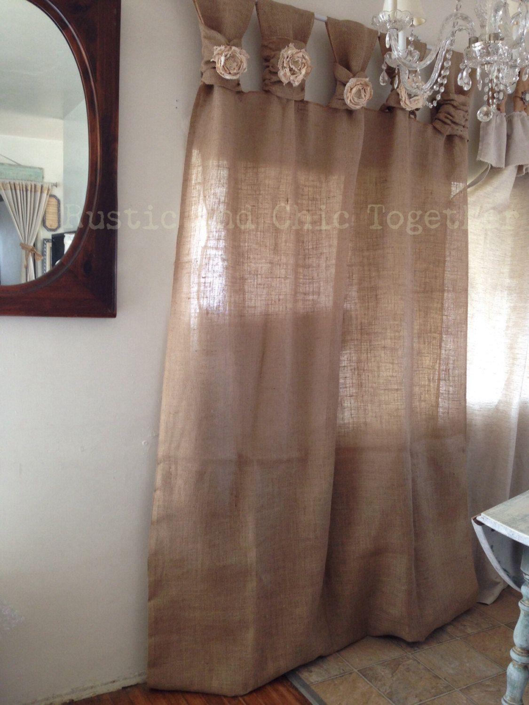 Burlap curtains tea dyed rosettes wide tabs cortinas - Cortinas de arpillera ...